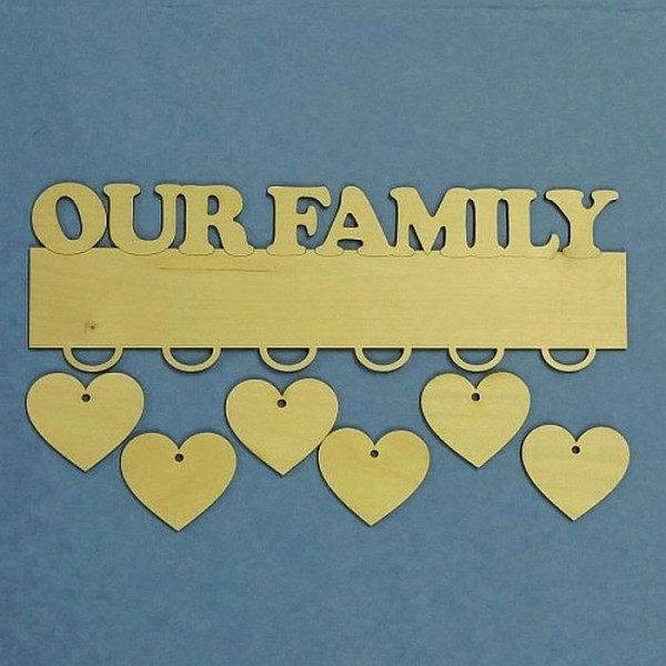Personalised Family Hearts Wall Hanging - 6 Hearts