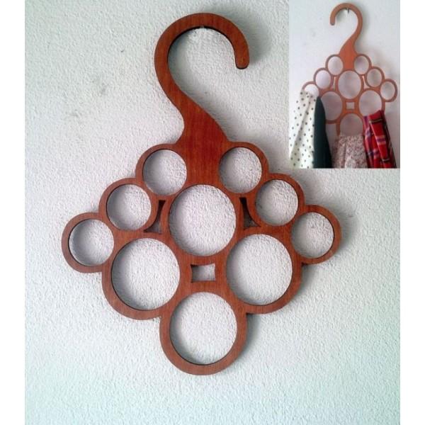 Ring Type Scarf Organiser - Wooden Hanger
