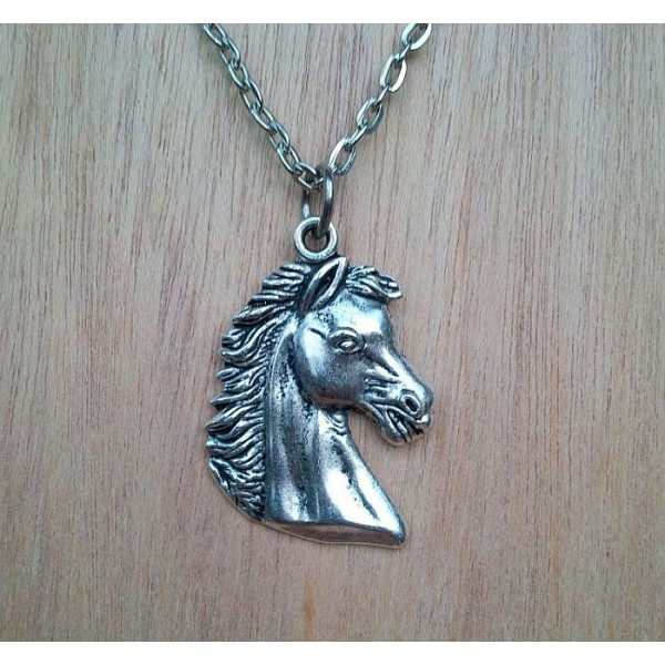 Antique Silver Finish Wild Horse Head Necklace with Ball Chain