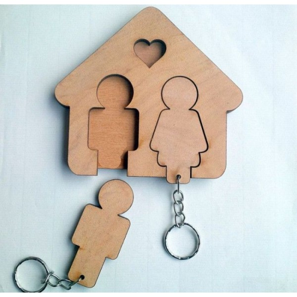 Wooden Key Holder with Keychains for Couple