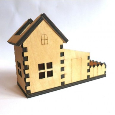 Wooden House Shaped Pen and Phone Holder/Desk organizer