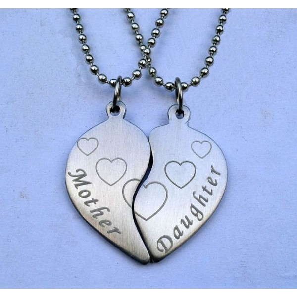 Mother and Daughter Split Hearts Pendants Set