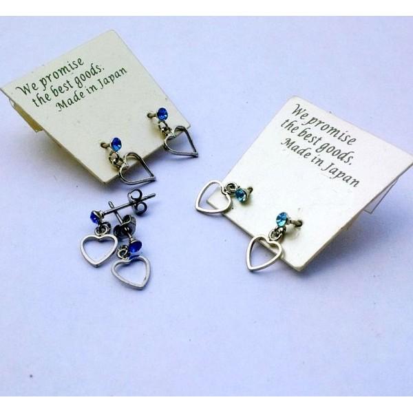 Silver Heart Earrings with Rhinestone