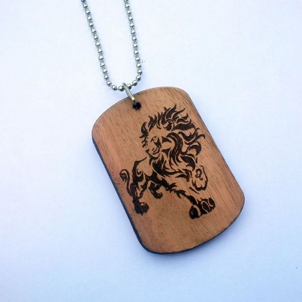 Laser Engraved Lion on wooden Tag with Ball Chain