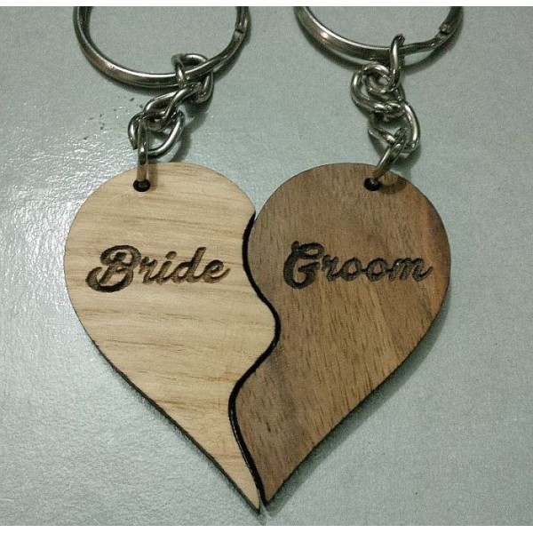 Personalized Wooden Split Heart Key Chain Set- with your names