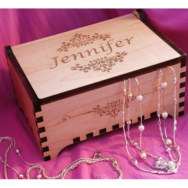 Personalized Laser Cut Wooden Jewelry Box