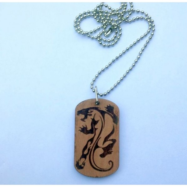 Jaguar Engraved Stencil Wooden Pendant with Ball Chain