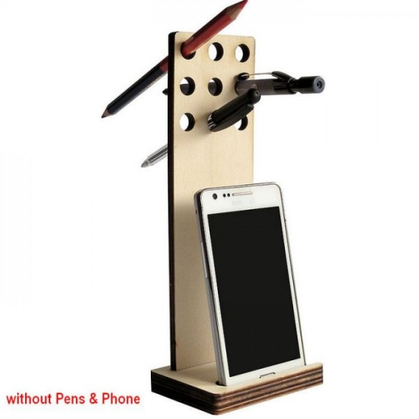 Laser Cut Wooden Pen Holder And iPhone Stand