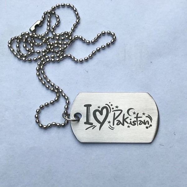I Love Pakistan - Stainless Steel Tag Necklace