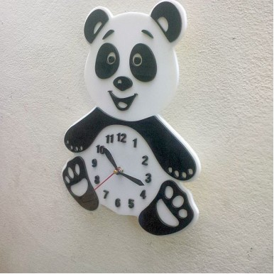 Panda Wall Clock for Kids Room - Acrylic