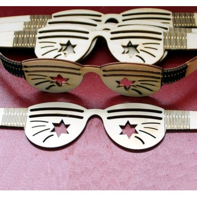 Pack of 4 - Laser Cut Wooden Party Fun Glasses for Kids