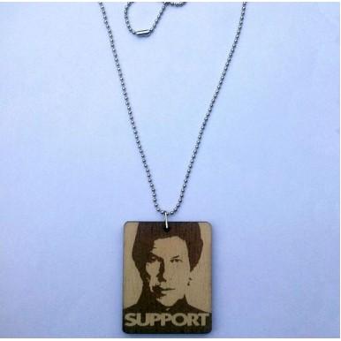 Imran Khans Laser Engraved Photo Wooden Pendant - Ball Chain