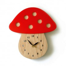 Mushroom Shaped Wooden Wall Clock for kids room