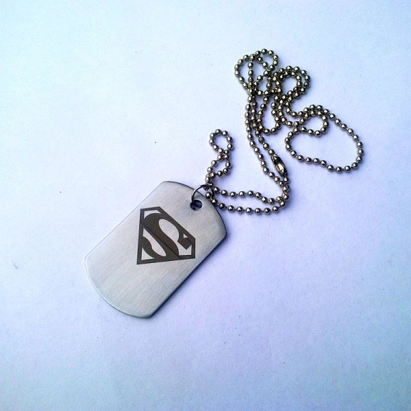 Superman Tag Necklace- Stainless Steel