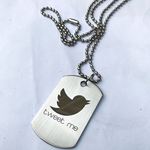 Tweet Me Tag Pendant with Chain - Silver