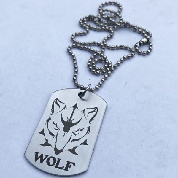 Dangerous Wolf Stainless Steel Tag Pendant th Ball Chain