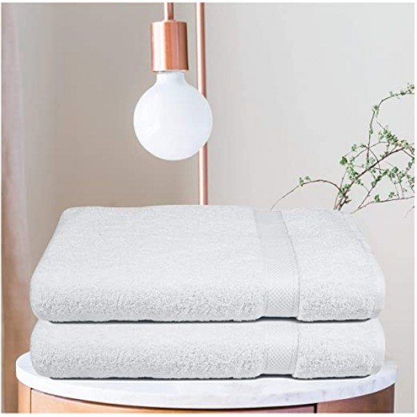 Bath Sheet 35 x 70 Inch Pure Cotton White Towel 2 Pcs Hotel and Spa Quality