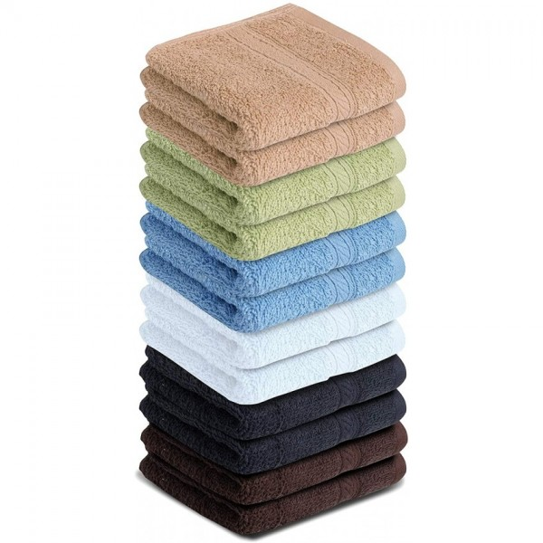 Pack of 12 (12x12 Inch) Plain Soft Cotton Towels Multicolored