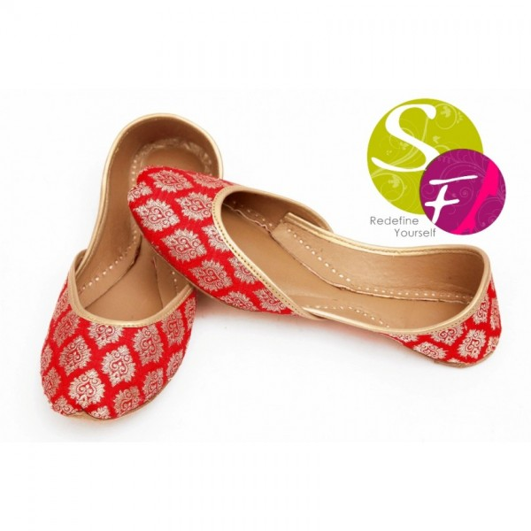 Banarsi Khussa Style Ladies Shoes in Red
