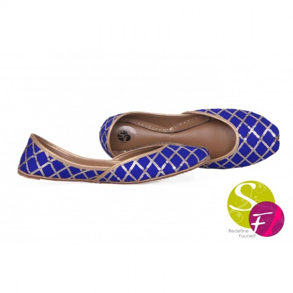 Blue Sequence Linning Khussa For Her - 233