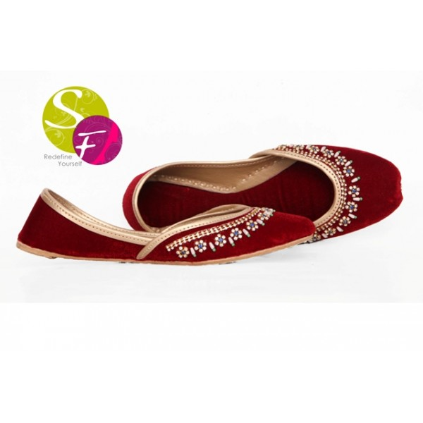 New Embroidered Khussa for Ladies In Maroon
