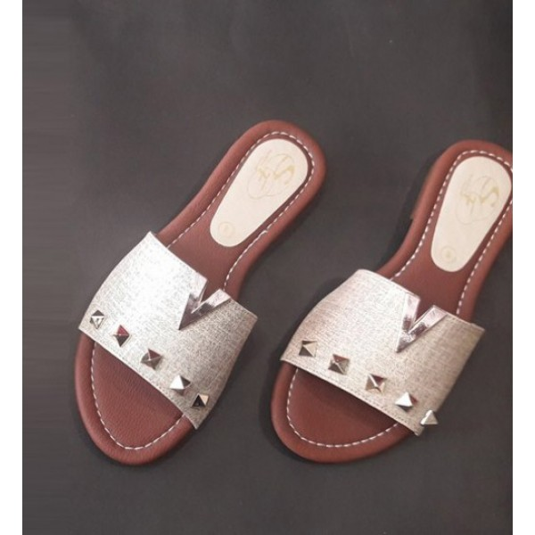 Beige color flat Slippers for Her 383