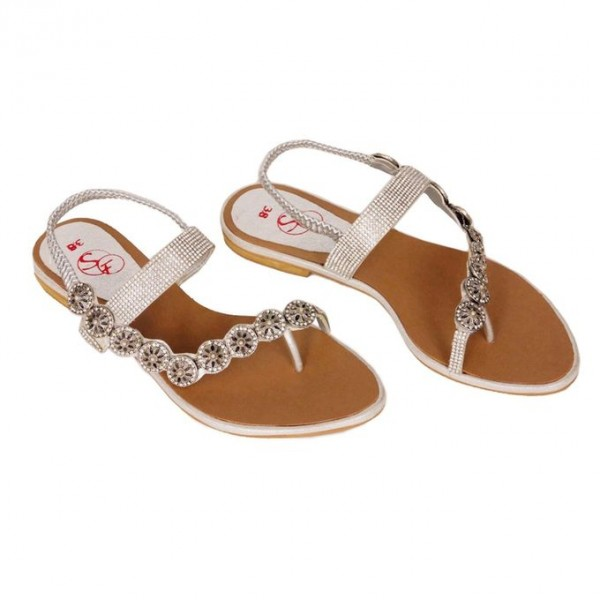 341-Silver Flat Sandal for Her