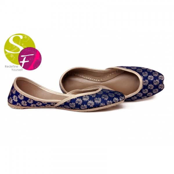 Khussa Style Banarsi Ladies Shoes in Blue - 234