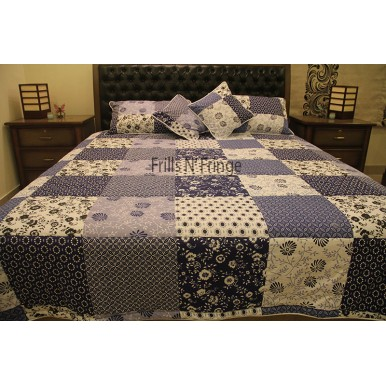 High Quality Bedsheet Blue Square 005
