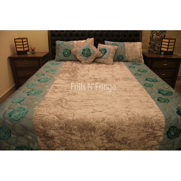 High Quality Bed Sheet Green Velvet Rose 003