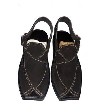 Black Korean Leather Peshawari Sandals