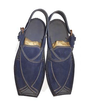 Blue Korean Leather Peshawari Sandals