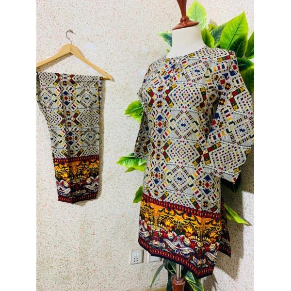 2 Pcs Printed Lawn Stitched Dress
