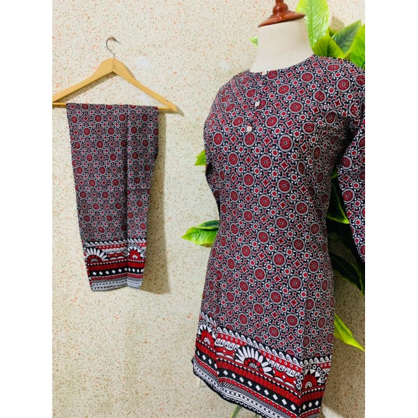 2 Pcs Ajrak Printed Lawn Stitched Dress