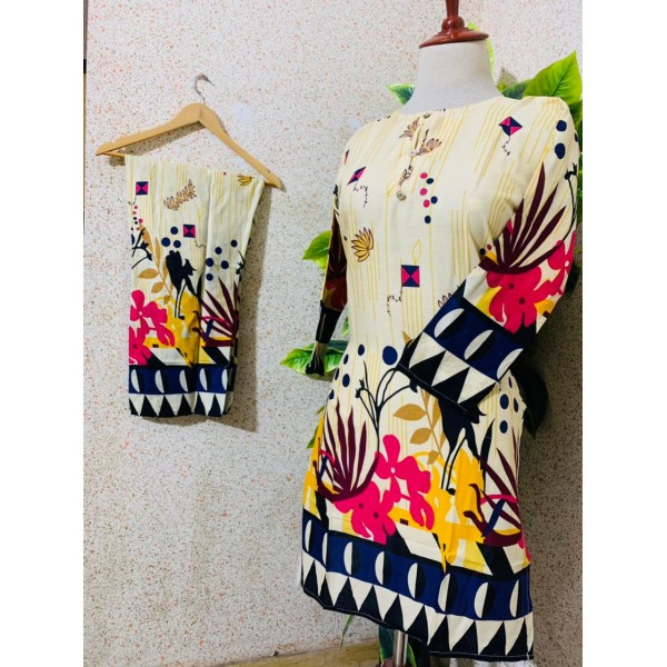 Printed Lawn 2Pcs Stitched Dress for her