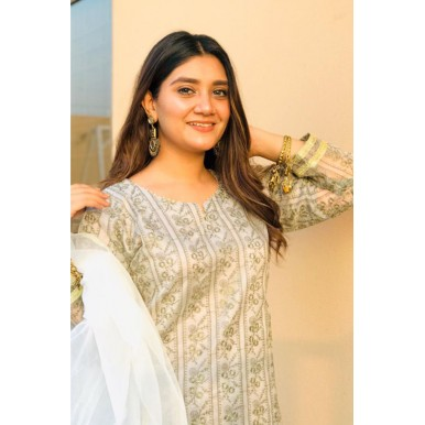 gold and greyish color 3 Pc's lawn Suit Stitched