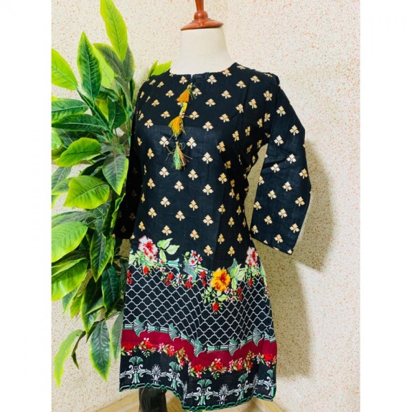 Printed Khaddar Kurti for Her - Free Size AA Premium