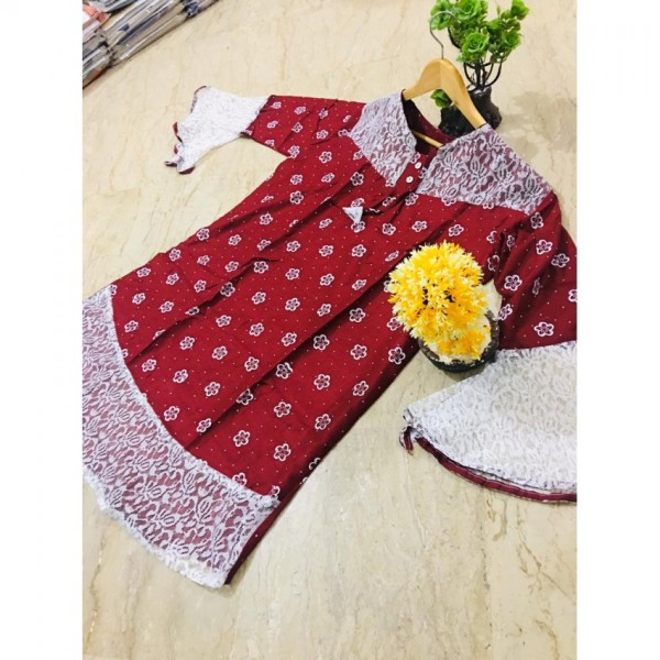 Printed Kurti Frock Style With Net Sleeves