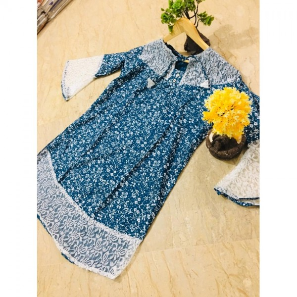 Printed Frock Style Kurti for Girls Out Side Border Net