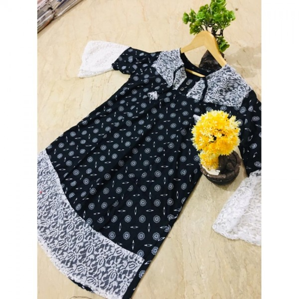 Printed Kurti Frock Style Out Side Border Net