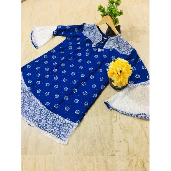 Printed Kurti Frock Style Out Side Border Net in Blue Color