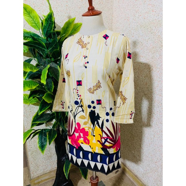 White And Yellow Color Kurti With Multi Color Printed Design