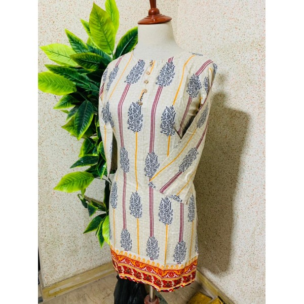White Color Kurti With Yellow And Pink Strips