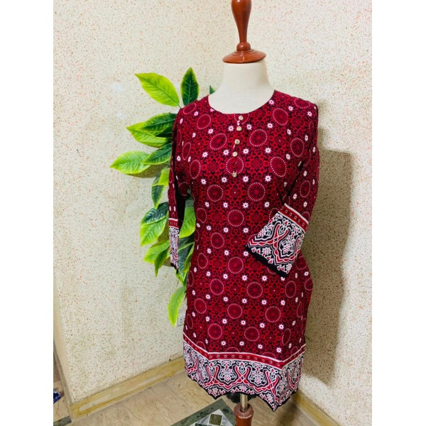 Magenta colour Lawn Kurti Stitched