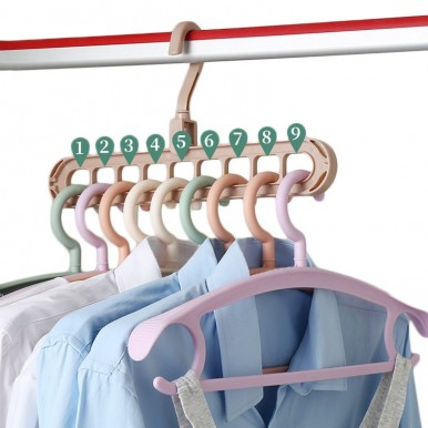 Pack of 5 - Rotate Anti-Skid Folding Hanger Portable Hanging For Home Wet Dry Clothes