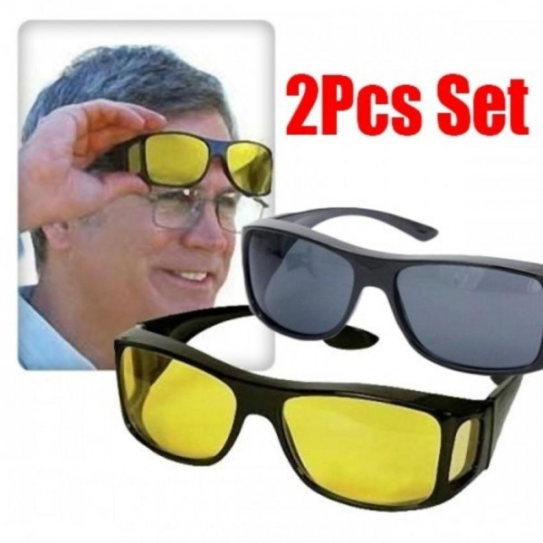 Pack of 2 HD Night Vision Glasses for Night Driving Protective Eyewear Anti Glare and Sunglasses