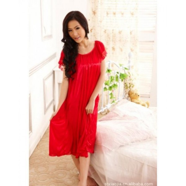 Summer Short Sleeve Sleepwear Viscose Lace Long Nighty