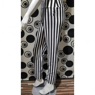 Women Black and White Thick Vertical Striped Trousers
