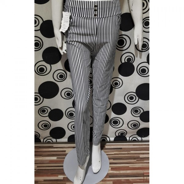 Women Black and White Thin Vertical Striped Leggings Trousers