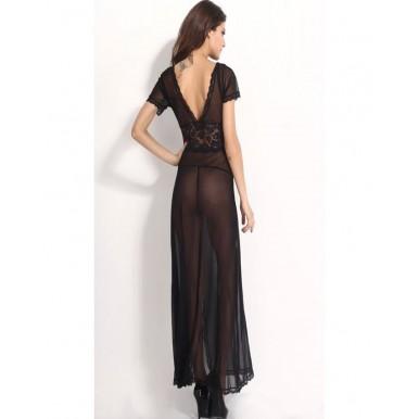 Black Net Long Sexy Lingerie for Women